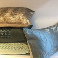 Patterned and Sequined Cushions in Golds and Greens