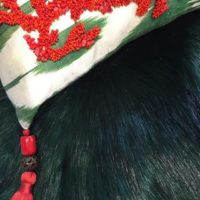 Coral Red and Dark Emerald Faux Fur Cushion Designs