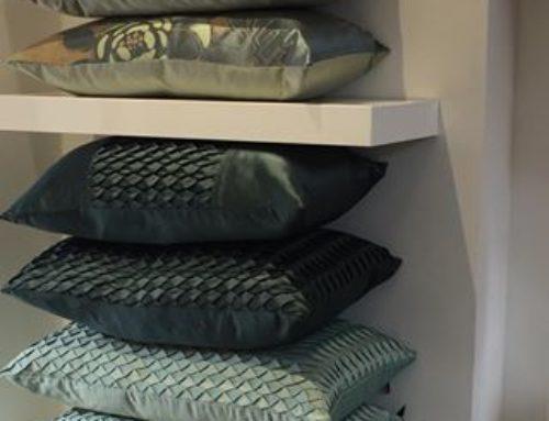 Stock Cushions in Textured Fabrics in Sea Foam Colours